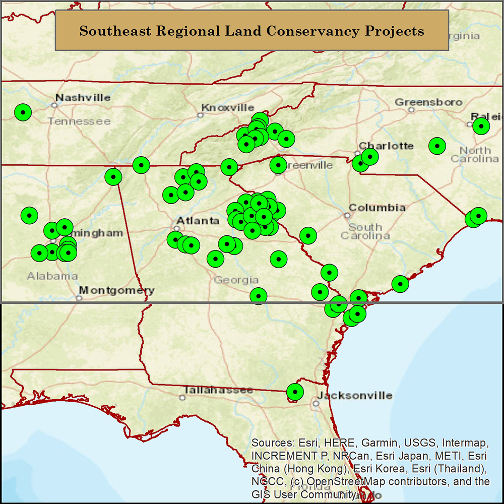 Map of Southeast Regional Land Conservancy Projects